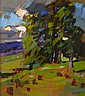 JOHN CUNNINGHAM R.G.I. (SCOTTISH 1926-1998) LANDSCAPE WITH TREES 46cm x 40cm (18in x 15.75in)
