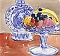 JOHN CUNNINGHAM R.G.I. (SCOTTISH 1926-1998) STILL LIFE WITH CHINESE MOONFLASK 20cm x 21cm (8in x 8.25in)