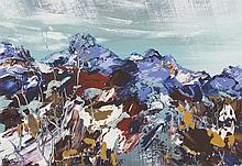§ JAMES HAWKINS (BRITISH B. 1954) CONIVAL AND BEN MOR, ASSYNT 28cm x 41cm (11in x 19in)