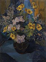 § WINIFRED MACKENZIE (SCOTTISH 1905-2001) STILL LIFE OF YELLOW FLOWERS ON A BLUE CLOTH 59.5cm x 44.5cm (23.5in x 17.5in)