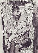 § ALBERTO MORROCCO O.B.E., R.S.A., R.S.W. (SCOTTISH 1917-1998) THE ARTIST'S WIFE AND CHILD 49cm x 35cm (19.25in x 13.75in)