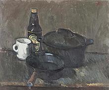 § JOHN BOYD (SCOTTISH B.1937) STILL LIFE OF KITCHEN POTS 51cm x 62cm (20in x 24.5in)