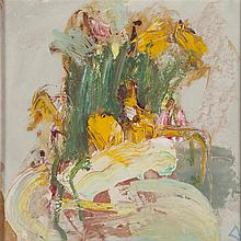 § LILLIAN NEILSON (SCOTTISH 1938-1998) STILL LIFE WITH YELLOW FLOWERS 29cm x 30cm (11.5in x 12in)