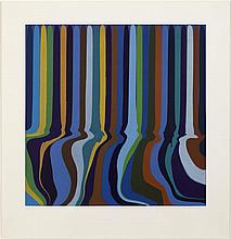 § IAN DAVENPORT (BRITISH B.1966) ROYAL BLUE ETCHING, 2011 83cm x 79cm (32.75in x 31in)
