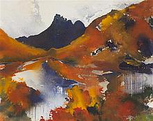 § JAMES HAWKINS (BRITISH B. 1954) STAC POLAIDH 22cm x 28cm (8.5in x 11in)