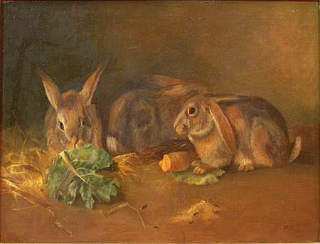MARY CAMERON (SCOTTISH C.1865-1921) FEEDING TIME 49cm x 67cm (19.25in x 24.5in)