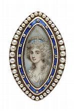 A Georgian lover's pendant/brooch 45mm x 28mm.