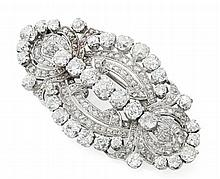 An Art Deco diamond set brooch 6.3cm x 3.3cm