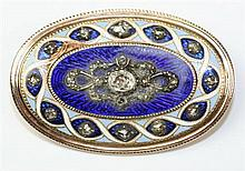 An enamel and diamond set brooch Length: 35mm