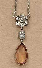A sherry topaz and diamond set necklace Pendant length: 30mm