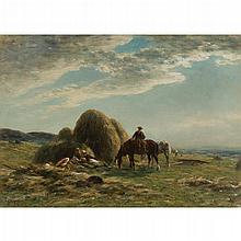 WILLIAM DARLING MCKAY R.S.A. (SCOTTISH 1844-1924) HAYMAKERS REST 46cm x 63.5cm (18in x 24in)