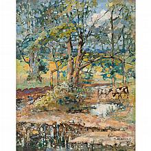 THOMAS MEIKLE KELLY (SCOTTISH 1866-C.1945) CATTLE WATERING IN A WOODLAND GLADE 51cm x 41cm (20in x 16in)