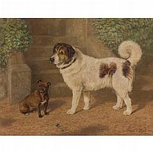 DAVID GEORGE STEELL R.S.A, (SCOTTISH 1856-1930) THE BEST OF FRIENDS 85cm x 112cm (33.5in x 44in)