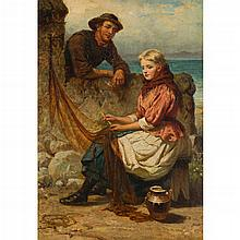 JOHN D. MICHIE (SCOTTTISH FL.1858-1892) WHEN JAMIE VOW'D HE WOULD BE MINE AND WAN FRAE ME MY HEART 71cm x 50cm (28in x 19.75in)