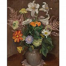 § ALBERTO MORROCCO,R.S.A., R.S.W., R.G.I., R.P., L.L.D. (SCOTTISH 1917- 1998) A STILL LIFE: A VASE OF FLOWERS 51cm x 41cm (20in x 16...
