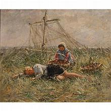ROBERT GEMMELL HUTCHISON R.B.A., R.O.I., R.S.A., R.S.W. (SCOTTISH 1860-1936) AMONGST THE BENTS 63cm x 76cm (25in x 30in)