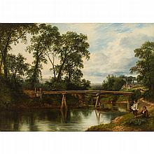 WILLIAM BEATTIE-BROWN R.S.A. (SCOTTISH 1831-1909) THE MILL BRIDGE ON THE RIVER WEY, SURREY 38cm x 55cm (15in x 21.75in)