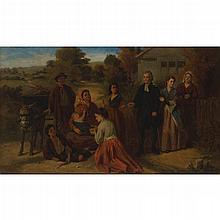 ROBERT KEMM (BRITISH 1837-1895) THE BLESSING 76cm x 127cm (30in x 50in)