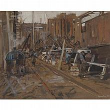 JAMES KAY R.S.A., R.S.W. (SCOTTISH 1858-1942) CLYDE DOCKYARD 48cm x 60cm (19in x 19.5in)