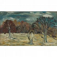 § SIR WILLIAM GEORGE GILLIES C.B.E., L.L.D., R.S.A., P.R.S.W., R.A. (SCOTTISH 1898-1973) THE WOODS, ARNISTON 56cm x 91cm (22in x 36i...