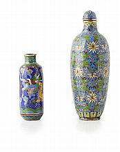 TWO CLOISONNÉ SNUFF BOTTLES QING DYNASTY, 19TH CENTURY tallest snuff bottle 9cm