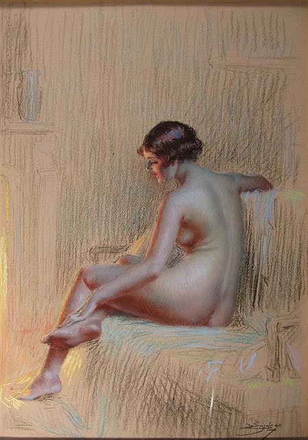 § DELPHIN ENJOLRAS (FRENCH 1857-1945) STUDY OF A NUDE WOMAN BY FIRELIGHT 53cm x 37cm (21in x 14.5in)