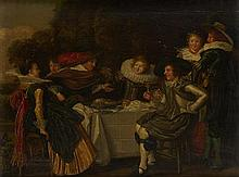 ATTRIBUTED TO DIRK HALS (DUTCH 1591-1656) A CONVIVIAL PARTY 29.5cm x 38cm (11.5in x 15in)