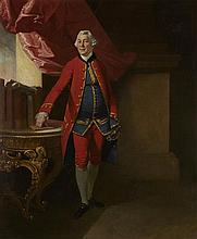 CIRCLE OF JOHAN JOSEPH ZOFFANY FULL LENGTH PORTRAIT OF SIR WILLIAM YOUNG, GOVERNOR OF ST. DOMENICA 76cm x 63cm (30in x 25in)