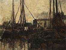 WILLIAM ALFRED GIBSON (SCOTTISH 1866-1931) THE HARBOUR 69cm x 90cm (27in x 35.5in)