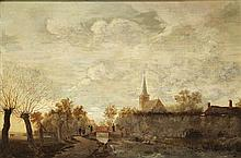 CIRCLE OF EGBERT VAN DER POEL FIGURES ON A CANALSIDE 71cm x 104cm (28in x 41in)