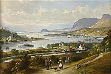 THOMAS DUDGEON (SCOTTISH FL.1831-1878) VIEW OF THE CLYDE ESTUARY AND DUMBARTON ROCK 31cm x 46cm (12in x 16in)