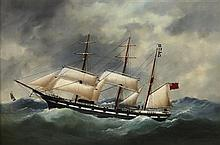 ÉDOUARD ADAM (FRENCH 1847-1929) THE S.S. ARGOSY IN HEAVY SEAS 61cm x 91cm (24in x 36in)