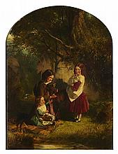 ROBERT HERDMAN R.S.A., R.S.W (SCOTTISH 1829-1888) FAVOURITE PETS 102cm x 76cm (40in x 30in)