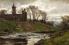 DAVID FARQHARSON A.R.A., A.R.S.A., R.S.W., R.O.I (SCOTTISH 1840-1907) DUNBLANE CATHEDRAL 20.5cm x 31cm (8in x 10in)