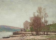 § GEORGE HOUSTON R.S.A., R.S.W., R.I (SCOTTISH 1869-1947) ON THE BANKS OF THE LOCH 46cm x 61cm (18in x 24in)