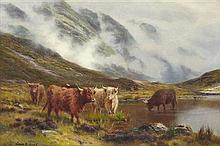 LOUIS BOSWORTH HURT (BRITISH 1856-1929) CATTLE WATERING IN A MOUNTAIN LOCH 33cm x 49cm (13in x 19in)