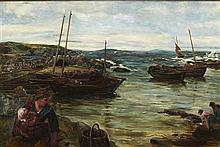 JOHN ROBERTSON REID R.I., R.B.A., R.O.I (SCOTTISH 1851-1926) RETURN OF THE FLEET, MACDUFF 56cm x 84cm (22in x 33in)