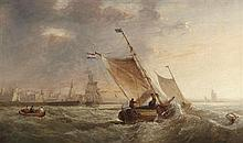 JOHN H (JOCK) WILSON H.R.S.A (SCOTTISH 1774-1855) DUTCH BARGES OFF THE COAST 31cm x 51cm (12in x 20in)