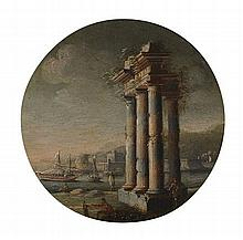 FOLLOWER OF ORAZIO GREVENBROECK (FRENCH 1670-1730) A CAPRICCIO SCENE WITH BOATS ENTERING A HARBOUR PAST RUINED COLONNADE 13cm (5in)...