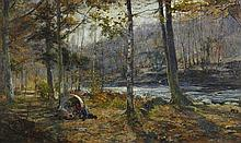 ARCHIBALD KAY R.S.A., R.S.W. (SCOTTISH 1860-1935) THE PEARL FISHER'S CAMP 94cm x 154cm (37in x 60.5in)