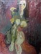 § HENRYK GOTLIB (POLISH 1890-1966) CAROLINE 100cm x 75cm (39.5in x 29.5in)