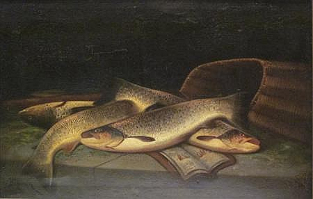 JOHN BUCKNELL RUSSELL (BRITISH C.1819-1893) RIVER TROUT 38cm x 60cm (15in x 23.5in)