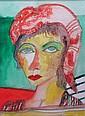§ JOHN BELLANY H.R.S.A., R.A., C.B.E. (SCOTTISH B. 1942) RED HEAD SCARF 36cm x 25.5cm (14in x 10in)