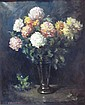 § HENRY RAEBURN DOBSON (SCOTTISH B.1901) STILL LIFE OF CHRYSANTHEMUMS 91cm x 70cm (35.75in x 27.5in)