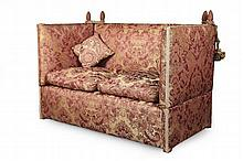 VICTORIAN TWO SEAT KNOLE SOFA 19TH CENTURY 139cm wide, 88cm high, 79cm deep