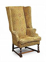 QUEEN ANNE STYLE UPHOLSTERED WING ARMCHAIR 19TH CENTURY 67cm wide, 120cm high, 45cm deep (seat)
