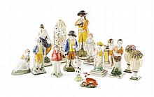 GROUP OF STAFFORDSHIRE PEARLWARE AND PRATTWARE FIGURES 19TH CENTURY tallest 20cm high