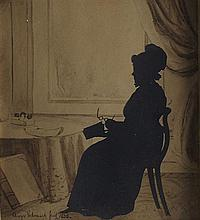 AUGUSTE EDOUART (FRENCH 1789-1861) SILHOUETTE OF LADY READING 20cm x 18cm (8in x 7in) and another silhouette of a gentleman, a pair...
