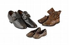 THREE PAIRS OF CHILDREN'S LEATHER SHOES