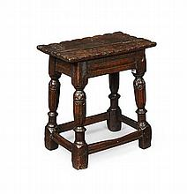 CHARLES II STYLE OAK JOINT STOOL LATE 19TH CENTURY 46.5cm wide, 51cm high, 27.5cm deep